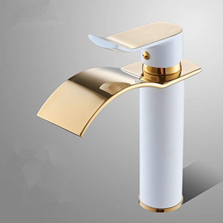 Retro Wasserhahn Armaturen Kupfer heien und kalten Einlochmontage Becken Wasserhahn Wasserfall Gold
