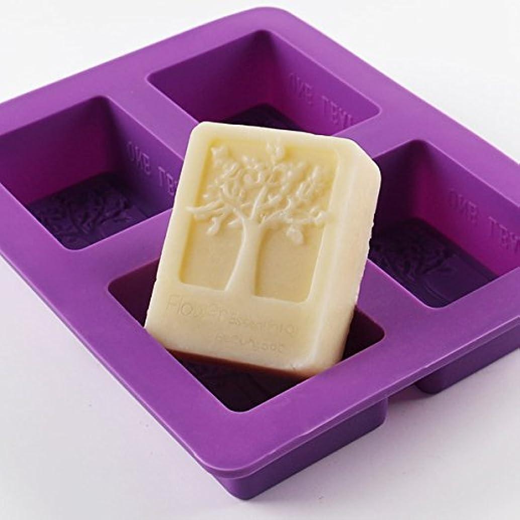 Looching 4 Cavities Purple Rectangle Life Tree DIY Cake Soap Silicone Mold