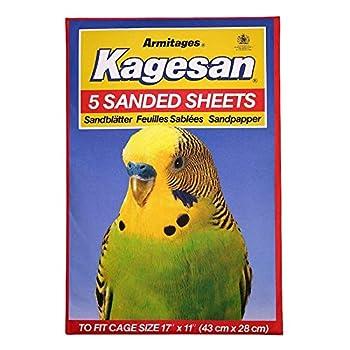 Kagesan Lot de 2 x 5 feuilles de papier de sable pour cage à oiseaux Rouge 43 x 28 cm