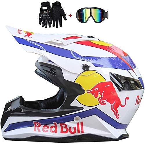 CMXSC Integralhelm, Motorrad-/Motorrad-Helm, ABS-Gehäuse, mehrere Belüftungslöcher, coole Form, Schnellverschluss, abnehmbares Futter, Brille, Handschuhe, Bull-Fahrradhelm, B, Large
