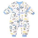 Saco de Dormir para bebé con piernas, para Invierno, Manga Larga, con pies y Zapatos de bebé, 3,5 TOG, tamaño 110 cm - 120 cm, diseño de avión Azul