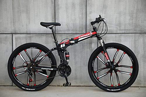 AUTOKS Multipliable Sports/VTT 24/26 Pouces 10 molettes de Coupe, Noir et Rouge