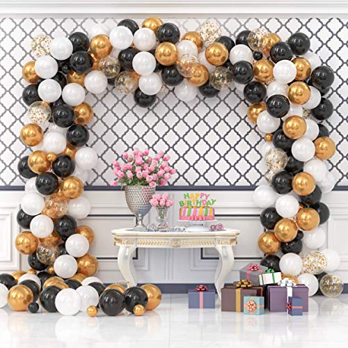 Vivuzono Balloon Garland Kit Black Gold White Assorted Balloons Strip Tape Ribbon Balloon Tying Tool Graduation Birthday Party Supplied