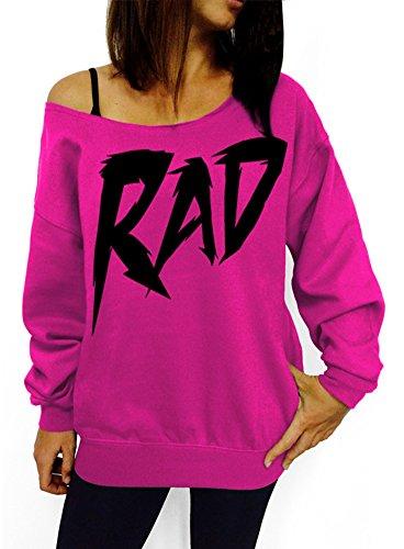 Rad Slouchy Off-Shoulder Sweatshirt - Pink, Black