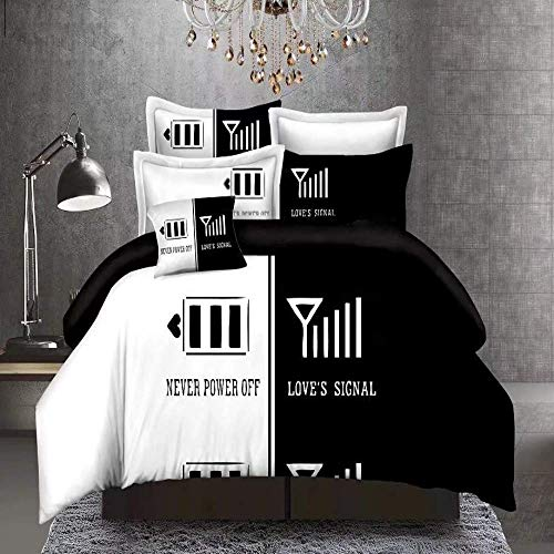 387 Love's Signal Couples Printed Duvet Cover Set Black White Love Never Power Off Bedding Sets with Hidden Zipper Closure,Microfiber Polyester Comforter Quilt Cover Double Size 3pcs(200x200cm)