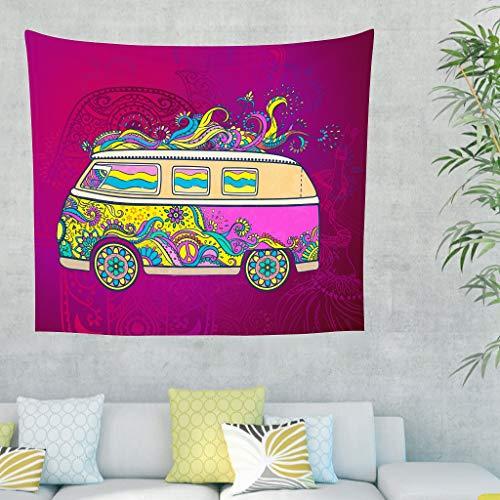 Yrgdskuvle Tapiz de pared con diseño de coche indio, estilo hippie, para dormitorio, salón, color blanco, 200 x 150 cm