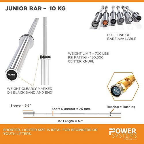 Power Systems Junior Training Bar - 10kg - 25mm - Black Zinc and Stainless Steel