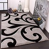 Paco Home Alfombra De Diseño - Ornamentos Contorneados En Gris Negro, tamaño:160x230 cm