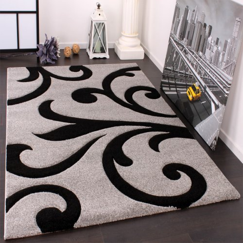Paco Home Alfombra De Diseño - Ornamentos Contorneados En Gris Negro, tamaño:80x150 cm