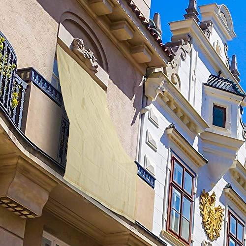 BAKAJI 2832419 - Toldo de HDPE Resistente, protección UV 90% para balcón y Porche con Anillas de Enganche, Beige, 200 x 295 cm