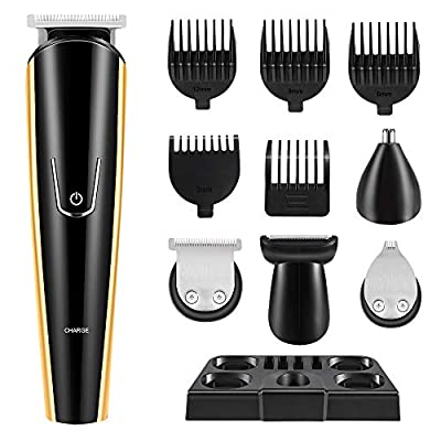 Hair Clipper for Men, 5 in 1 Cordless Hair Trimmer Mustache Beard Trimmer Detail Trimmer Horns Nose Trimmer Groomer Haircut Kit, USB Rechargeable Electric Razor for Men (Lubricant not Included) by La'prado