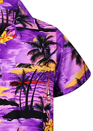 V.H.O. Funky Hawaiian Shirt, Shortsleeve, Surf, Purple, XS