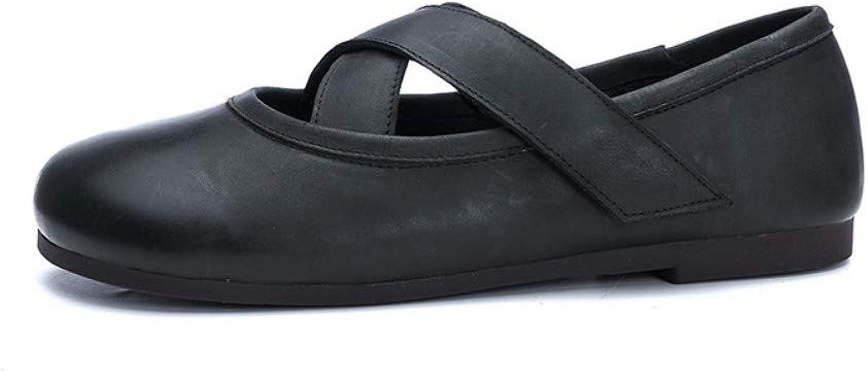 Damenschuhe Echtes Leder Weich Flach Sohle Slipper Sandalen Cross Velcro Schwarz Runde Zehe Low Heel Retro Vintage Originelles Design Handgefertigt Lssig Atmungsaktiv Bequeme Damenschuhe Für Damen