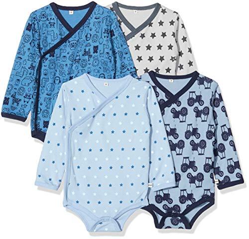 Pippi Unisex Baby 4er Pack Wickelbody mit Aufdruck, Langarm Formender Body, Blau (Blue 725), (Herstellergröße:80)