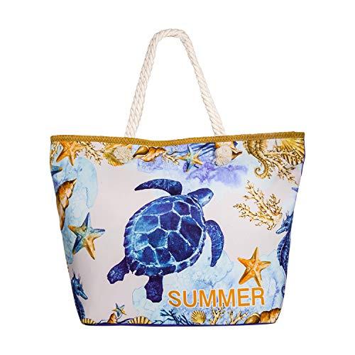 Comius Bandolera Verano Mujer 2019, PU Bolsa de Playa Grande con Cremallera, Bolso de Mujer Shopper Bolsa Totalizadores del Recorrido (55 x 39 x 11cm) (Turtle)