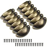 12 Pzs Tiradores para Cajones Pomos Puerta Vintage Tiradores de Metal Manillas Armario Cajón Tire Tiradores de Forma de Carcasa Retro Perilla del Gabinete para Armario Cajón Muebles, Bronce Antiguo