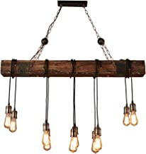 BDWN Wood Retro Pendant Lamp Industrial Hanging Lamp Height Adjustable E27 6-Lights Vintage Rustic Ceiling Lighting for Kitchen Coffee Shop Dining Living Room Loft
