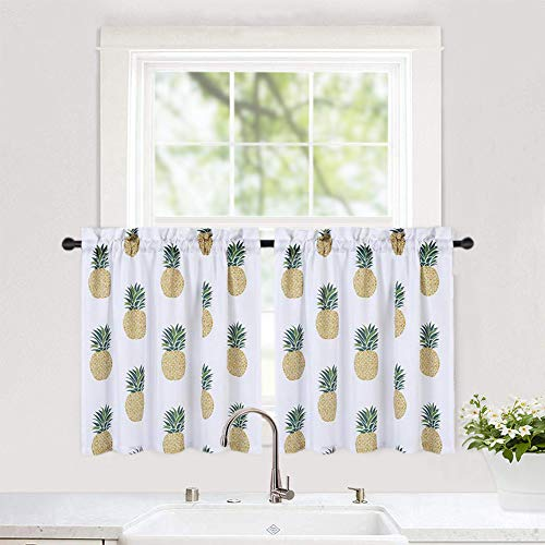 """Haperlare Pineapple Printed Tier Curtains for Kitchen, Multicolor FruitPattern Short Window CurtainCafe Curtains, Kitchen Window Curtain Set for Bathroom, 30"""" x 24"""", White/Yellow/Green, Set of 2"""