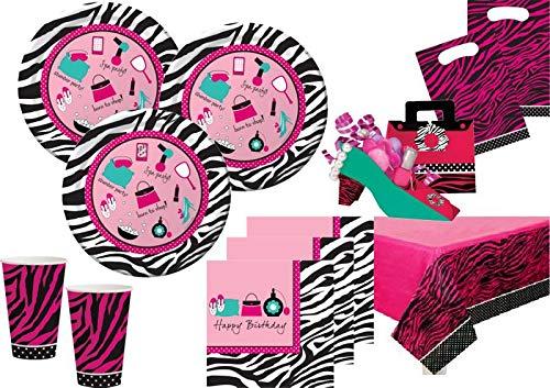 XL 45 Teile Pink Zebra Pyjama Party Beauty Makeup Spa Party Deko Set für 8 Personen