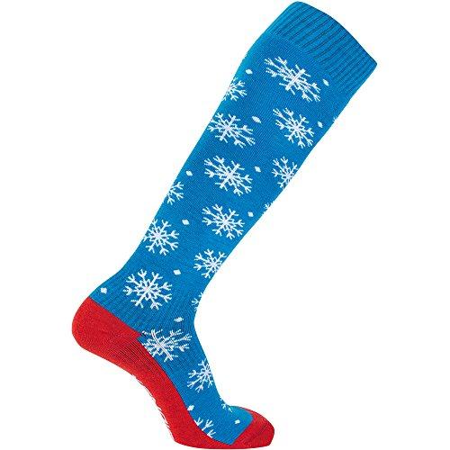 Sionyx SnowFlurry blau weiß rot Größe L Snowboardsocke Kniestrumpf