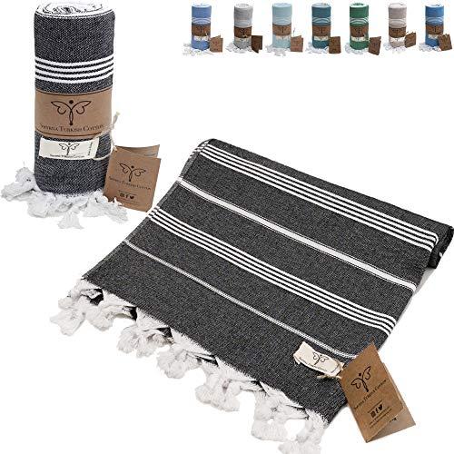 Smyrna Classical Series Original Turkish Beach Towel | 100% Cotton, Prewashed, 37 x 71 Inches | Peshtemal and Turkish Bath Towel for SPA, Beach, Pool, Gym and Bathroom (Black)