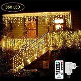 Qedertek 240 LED Lichterkette Eisregen, 9M Lichtvorhang Steckdose für Innen und Außen, 8 Modi und Timer Funktion und Merk-Funktion Dimmbar mit Fernbedienung, Deko Weihnachtsbaum, Partys (Warmweiss)