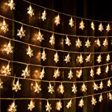 AWQ 100 LED 49 FT Christmas Lights Snowflake String Lights Plug in Fairy Lights 8 Modes Waterproof Extendable for Indoor Outdoor Wedding Birthday Christmas Tree Garden Decor (Warm White)