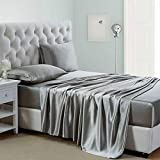 Lanest Housing Silk Satin Sheets, 4-Piece Queen Size Satin Bed Sheet Set with Deep Pockets, Cooling and Soft Hypoallergenic Satin Sheets Queen - Light Gray