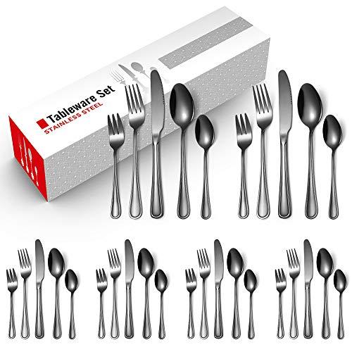 TOOYOO Modernos uego de cubiertos de servir de acero inoxidable, Set de 30 Piezas,Cuchillo de Cena,Cuchara de Mesa,Tenedo de Cena,Tenedor de Postres,Cuchara de Té,Negro