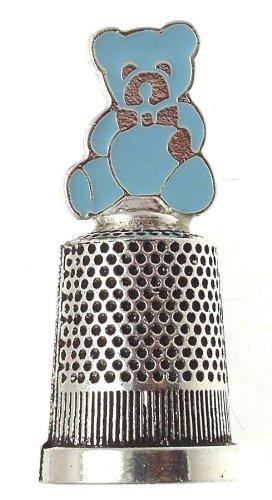 Silver plated Fingerhut mit Emaille-Teddy-Design, versilbert