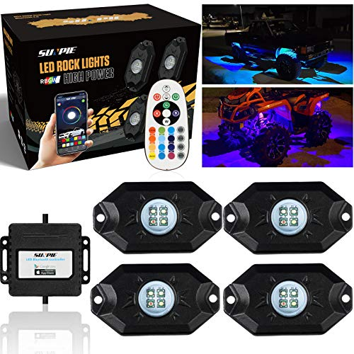 SUNPIE RGB LED Rock Lights -4 Pod Lights with Phone App/Remote Control & Timing & Music Mode & Flashing & Automatic Control Neon Lights Under Off Road Truck SUV ATV(11.5 Ft Rock Lights Wires Equipped)