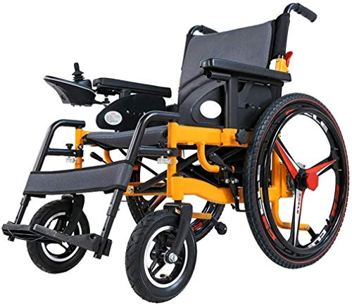 WERFFT Klappen Elektro-Rollstuhl, Transit Rollstuhl Leicht, 360 ° Joystick, selbstfahrend Rollstühle Tragfähigkeits 120kg (3 Modelle Lithium-Batterien optional),20A