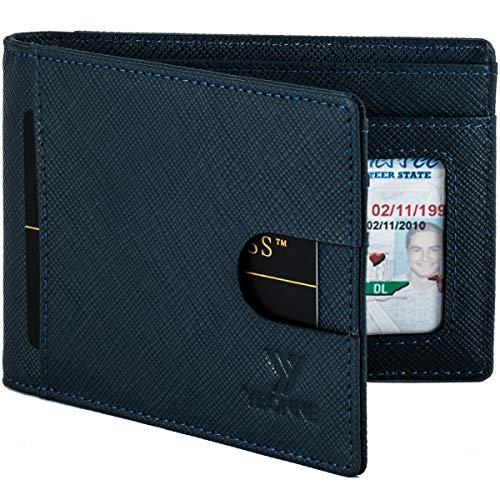 YBONNE RFID Blocking Slim Bifold Wallets for Men Made of Finest Genuine Leather Saffiano Denim Blue