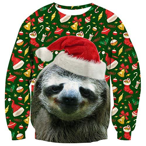 ALISISTER Unisex Weihnachtspullover Faultier 3D Cool Design Ugly Christmas Sweater Beiläufig Crewneck Weihnachten Pullover Sweatshirt für Familienpaare XXL