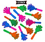 Hand Clappers 7.5 Inch In Assorted Bright Colors - Fun For Kids Party Favors And Prizes - Pack Of 12 Party Noisemakers