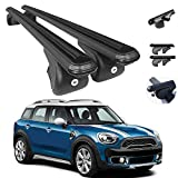Roof Rack Cross Bars Luggage Carrier Black 2 Pcs Compatible with Mini Cooper Countryman F60 2017-2021 | Aluminum Black Cargo Carrier Rooftop Luggage Crossbars