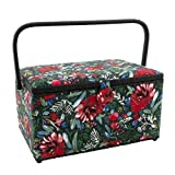 Dritz Sewing Basket, Green & Red Floral