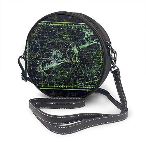Rterss Runde Schultertasche aus echtem Leder, Vintage-Stil, verstellbarer Schulterriemen für Frauen, Sternbildkarten-Schild