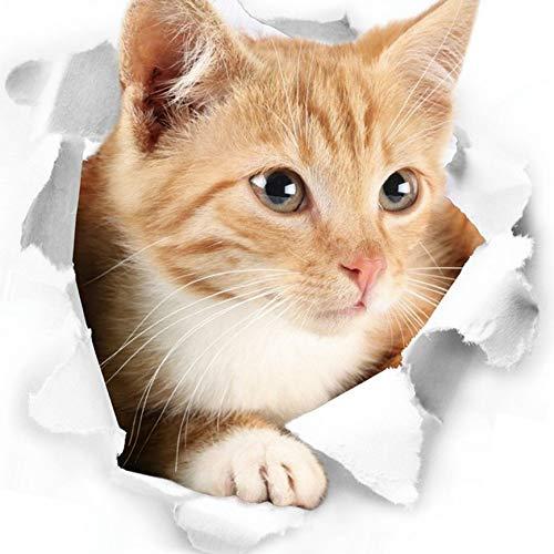 Yihaifu 3D Gatito Lindo del Gato Etiqueta engomada de Closestool Dormitorio 3D closestool Kids Pared Deocration Dibujos Animados del Gato imán de Etiqueta
