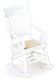 Miniature Furniture Wooden Model Rocking Chair for 1/12 Dollhouse White Durable and Useful