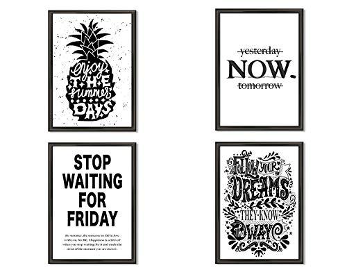 Hometastic 4 Premium Poster im Set | Bilder für Wohnzimmer und Schlafzimmer | Wandbild, Kunstdruck mit Spruch in schwarz weiß ohne Bilderrahmen | Dekoration | Modern | DIN A4 | (Set 6)