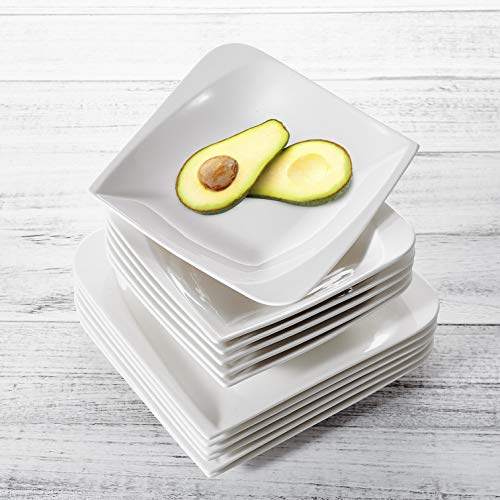 vancasso CLORIS 12 Pieces Dinner set Ivory White Porcelain Lunch Plates Set Ceramic Combination Set with 10.5' Dinner Plates/Serving Platters and 8.5' Soup Plates/Pasta Bowls,Service for 6 Persons