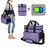 Teamoy Double Layer Dog Travel Bag with 2 Silicone Collapsible Bowls, 2 Food Carriers, 1 Water-Resistant Placemat, Pet Supplies Weekend Tote Organizer(Medium, Purple)