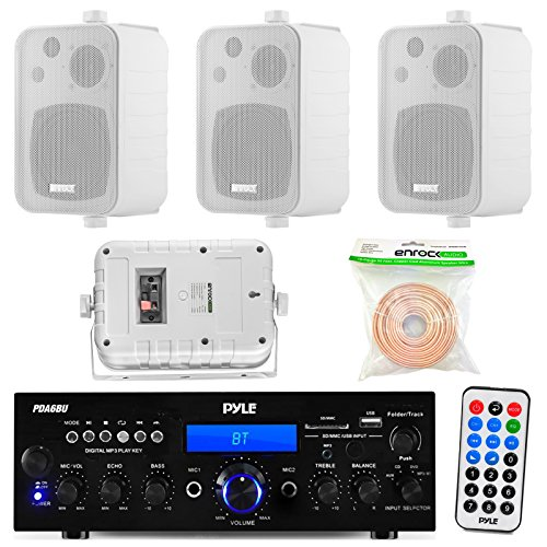 Pyle PDA6BU 200-Watt 2-Channel Digital USB/AUX FM Radio Stereo Amplifier Receiver, Bundle Combo With 4x Enrock EKMR408W 4