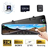 Karsuite M9 12' Mirror Dash Cam 2560x1440P Backup Camera with GPS Touch Screen Front and Rear View Dual Lens Full HD WDR Night Vision, G-Sensor (Free 128GB SD Card Included) for Cars/Trucks