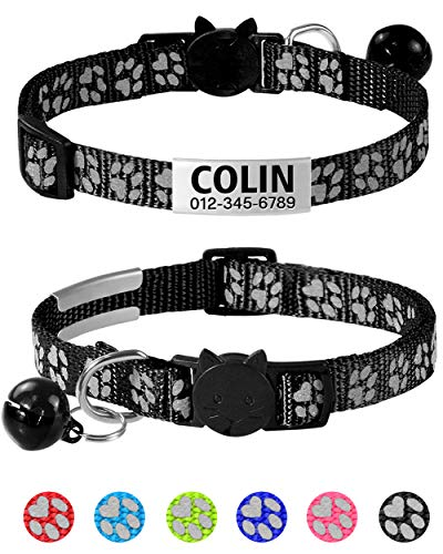 """Taglory Reflective Cat Collar Personalized with Name and Number, Cat Collars Breakaway with Bell and ID Tag, 7.5-12.5"""" Black"""