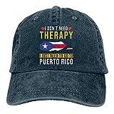 Puerto Rico Casquette de baseball réglable en coton lavable pour papa