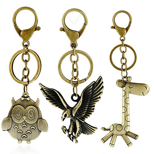 3 Keychain Set Creative Cartoon Animal Owl Giraffe Car Key Chain Pendant Chain Ring Bag Pendant Exquisite Keyrings for Women Personalised Durable