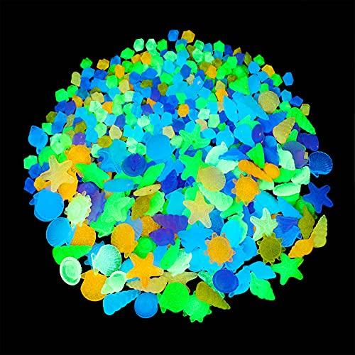340 Stücke Aquarium Leuchtende Steine Mehrfarbige Muscheln Dekorative Kieselsteine Aquarium Dekorationen Felsen Leuchten im Dunkeln für Schwimmbad Garten Aquarium
