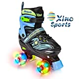 Xino Sports Adjustable Roller Skates for Children - Featuring Illuminating LED...